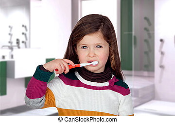 brossage, petite fille, joli, dents