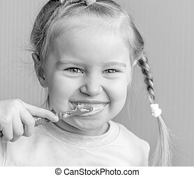 brossage, peu, elle, girl, dents, sourire