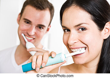 brossage, salle bains, couple, dents