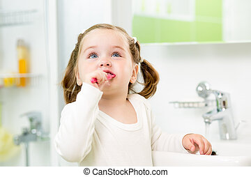 brossage, salle bains, dents, girl, enfant