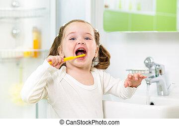 brossage, salle bains, gosse, girl, dents