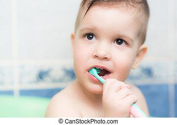 brossage, salle bains, sien, brosse dents, dents, bébé, agréable