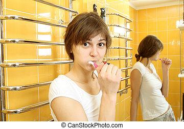 brossage, sien, chemise, short, bain, dents, girl, blanc