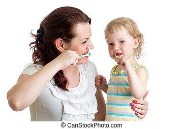 brossant dents, enseigne, mère, gosse