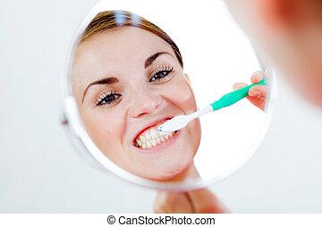 brosse dents, dentaire, femme, soin