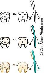 brosse dents, deux, dents