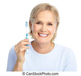 brosse dents, femme