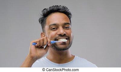 brosse dents, indien, nettoyage, homme, dents