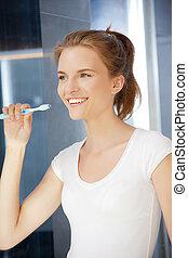 brosse dents, sourire, adolescente