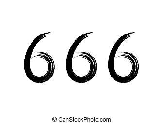 brosse, diable, blanc, bête, isolé, 666, arrière-plan., nombre, coup, vecteur, symbole, style, illustration