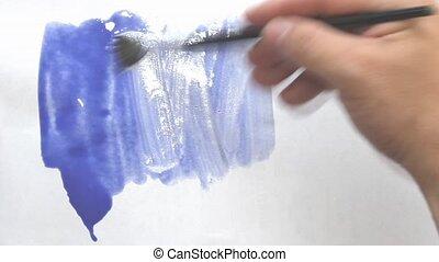 brosse, papier, feuille, peinture, blanc