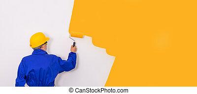 brosse, vêtements, mur, travail, peintre, peinture