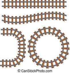 brosse, vecteur, pistes, ferroviaire, passager, ou, éléments, rail, isolé, ligne, fond blanc, train, chemin fer
