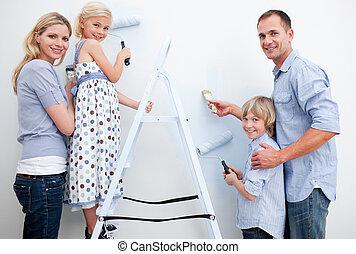 brosses, peinture, salle, famille, heureux