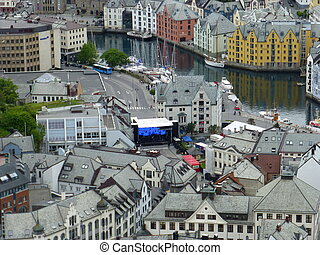 Brosundet in Aalesund from well-known Fjellstua