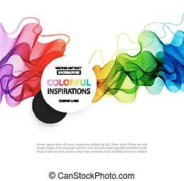 broszura, abstrakcyjny, szablon, tło., dymny, projektować, fale