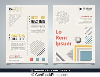 broszura, abstrakcyjny, text., geometryczny, barwny