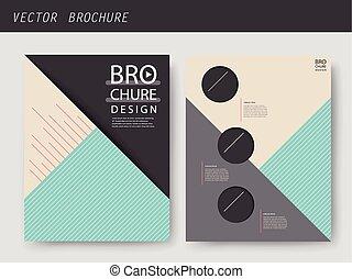 broszura, geometryczny, nowoczesny, projektować, szablon