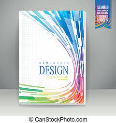 broszura, geometryczny, o liniach opływowych, tło