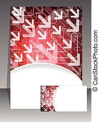 broszura, handlowa karta, czerwony