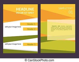 broszura, lotnik, projektować, wektor, szablon, w, a4, size., pomarańcza, i, zielony abstrakt, tło