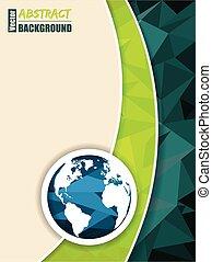 broszura, mapa, abstrakcyjny, zielony, świat