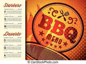 broszura, menu, projektować, bbq