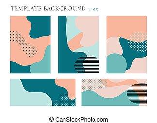 broszura, sieć, komplet, układ, przestrzeń, osłona, text., seamless, płyn, modeluje, tło., pastele, wzory, szablon, modny, geometryczny, color., chorągiew