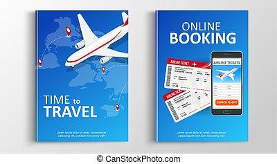 broszura, vacation., książka, flaer, flyear, prezentacja, bookung, afisze, online, banners., magazyny, korzystać, zameldować, lato, website., zbiorowy, osłona, planowanie, concept., szablon, albo, trip., podróż