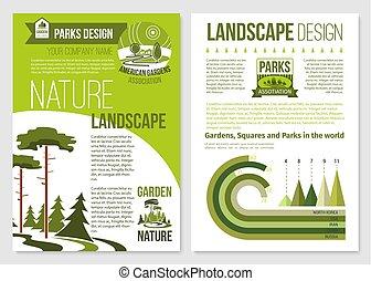 broszura, wektor, projektować, krajobraz, natura