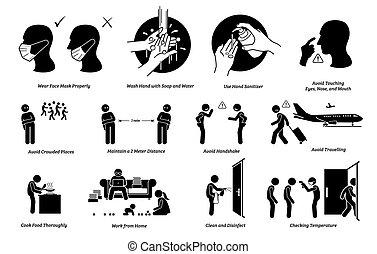 brote, prevención, puntas, virus, preparación, riesgos, ...