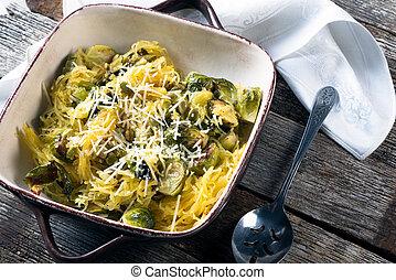 brotes, asado, espaguetis aplastan, brussel
