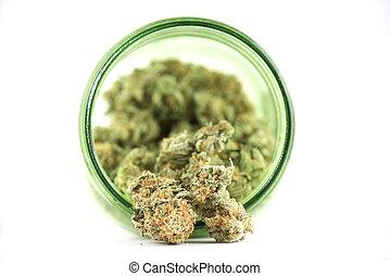 brotes, cannabis, strain), tarro, detalle, aislado, vidrio,...