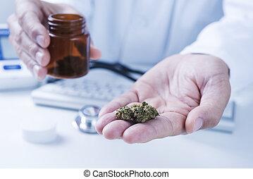 brotes, el suyo, doctor, algunos, marijuana, mano, hombre