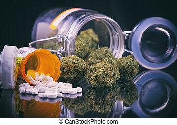 brotes, -, médico, encima, píldoras, superficie, prescripciones, cannabis, concepto, reflexivo, marijuana