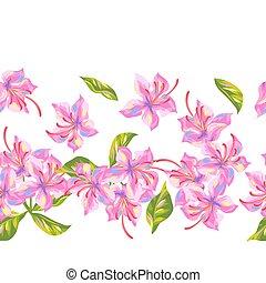 brotes, patrón, brillante, rododendro, hojas, flowers., ...