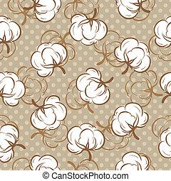 brotes, patrón, seamless, algodón