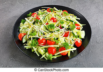 brotes, risoni, veggies, ensalada
