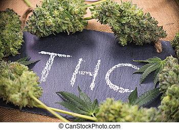 brotes, y, médico,  marijuana,  cannabis, encuadrado, Plano de fondo,  thc, hojas