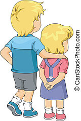 Brother and Sister - Illustration of a Girl Being Led by Her...