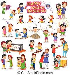 Brother and Sister in Raksha Bandhan in vector