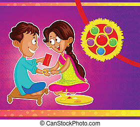 Brother and Sister in Raksha Bandhan in vector