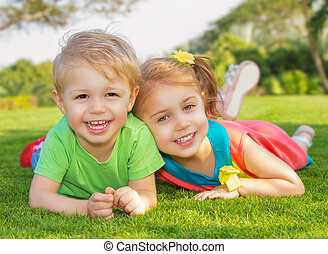 Brother and sister in the park - Picture of brother and...