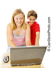 Brother and Sister on Computer