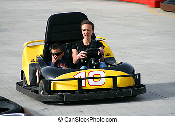 Brother and Sister on the Go Cart