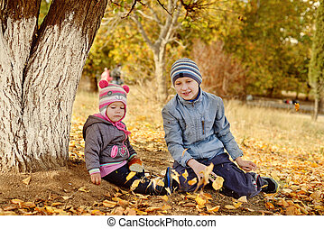 brother and sister playing leaves in park