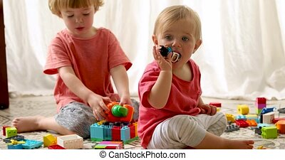 Brother and Sister Playing Plastic blocks