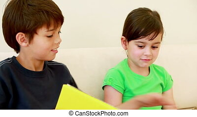 Brother and sister reading a book in a well-lit room