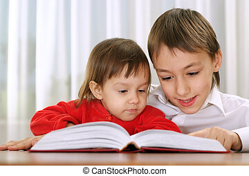 brother and sister reading