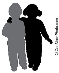 Brother and sister - Silhouettes of a brother and a sister. ...